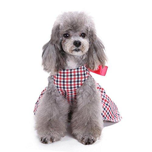Haustier Hund Teddy Vip Lattice Kleid LNAG , (Hund Kostüm Cowboy Uk)