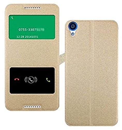 Heartly GoldSand Sparkle Luxury PU Leather Window Flip Stand Back Case Cover For HTC Desire 820 820Q Dual Sim - Hot Gold