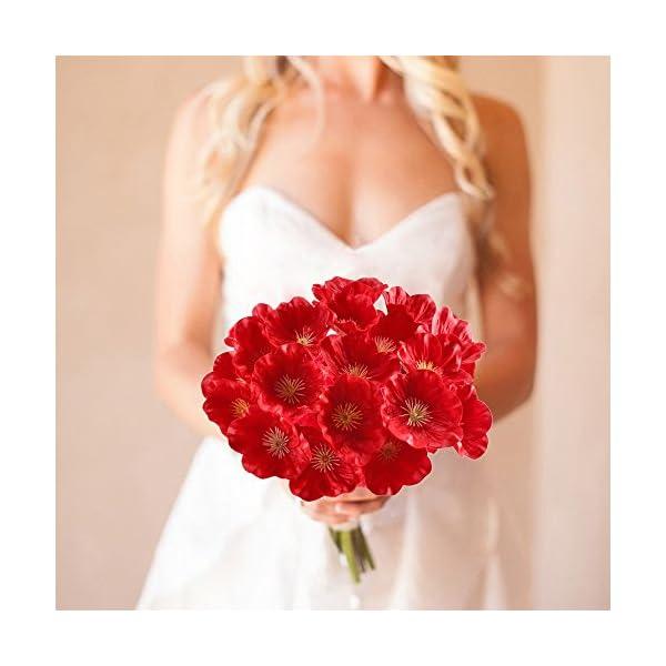 HUAESIN 20pcs Flores Artificiales Rojas Amapolas Decoracion 32cm Plastico Flor Amapolas Artificiales de Seda Arbusto de…