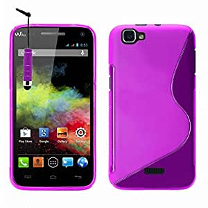 VCOMP® Wiko Rainbow 4G: Coque silicone gel motif S-Line + stylet - VIOLET