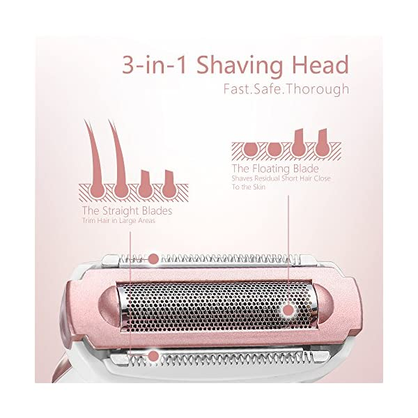 Lady Shaver NOVETE 4 In 1 Electric Lady Razor Womens Razor Rechargeable Bikini Trimmer Facial Brush Wet And Dry Ladies Electric Shaver For Arm Underarm Legs Hair Remover