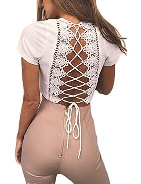 La Mujer Encaje Elegante Vendaje Bodycon Patchwork Backless Verano T Shirt Blusas Tops