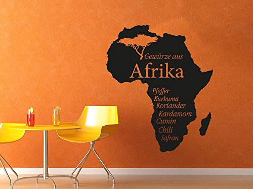 GRAZDesign Wandsticker Küche Afrika Umriss, Wanddeko Küche Esszimmer Afrika, Wandtattoo Küche Gewürze / 68x57cm / 090 Silbergrau