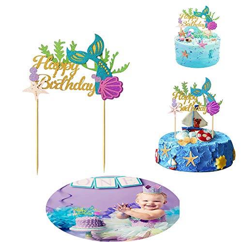 MOGOI Glitter Meerjungfrau Kuchen Topper, süße Meerjungfrau Alles Gute zum Geburtstag Kuchen-Picks für Meerjungfrau Thema Party, Baby-Dusche, 1. Mädchen Geburtstag, Meerjungfrau Party Supplies