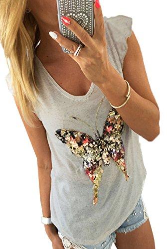 Fräulein Fox Sommer Damen Fashion Schmetterling Pailletten Blouse Tops T-Shirt Hemden Sexy V-Neck Kappenhülse Bluse Oberteile