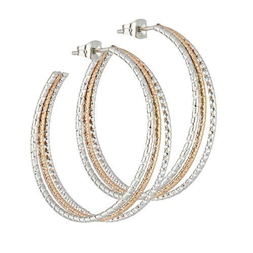 Treuheld®   3 Reihen CREOLEN mit 2 Farben aus Edelstahl - große Damen & Mädchen Ohrringe in Silber und Rose-Gold - mehr-reihige Ohrstecker - STECKVERSCHLUSS - Ohrschmuck zum Stecken