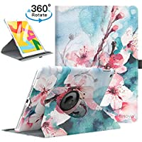 """TiMOVO Case for New iPad 7th Generation 10.2"""" 2019, 360 Degree Rotating Stand Leather Protective Cover, Smart Swivel Case with Auto Sleep/Wake Fit iPad 10.2-inch Retina display - Peach Blossom"""