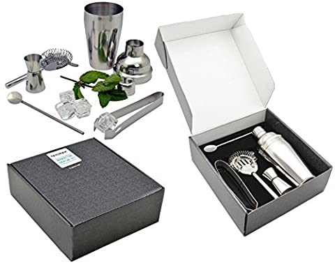 Rink Drink Manhattan 5 Piece Cocktail Drinks Set. Shaker, Measure, Tongs, Strainer, Spoon