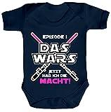 ShirtStreet Strampler mit Motiv Bio Baumwoll Baby Body kurzarm Mädchen - Das Wars jetzt hab ich die Macht, Größe: 6-12 Monate,Nautical Navy