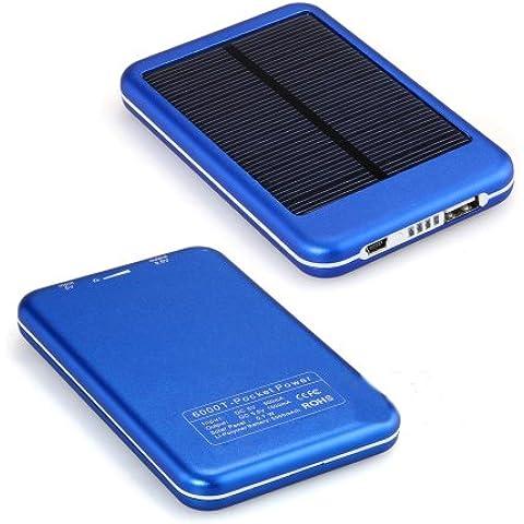 eyeCam 5000mAh energía Solar banco cargador de batería externa Universal cargador para Smart Phone Funda para teléfono eBook Reader PDA/MP3Player Mini altavoz para iPhone, iPad, iPod, Samsung Galaxy, Motorola, HTC, LG, Nokia, Sony Ericsson, Samsung Tab (azul)