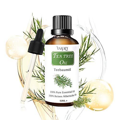 Teebaumöl Bio 100% Naturreines Ätherisches Akne Öl für Haut & Haar Pflege Diffuser Massage Spa Tea Tree Oil, Anti-Akne-Behandlung, Anti Pickel, Gegen Akne Essentials Teebaumöl