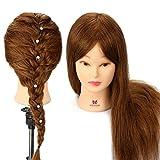 Trainingskopf, Neverland 20 Zoll 100% Echthaar Kosmetologie Friseur Schaufensterpuppe Puppe für Alle Arten von Schönen Frisuren (Tischklemme Halter Enthalten)