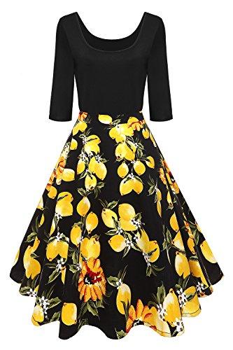 e Vintage 1/2 Arm Rockabilly Kleid Abendkleid Pin Up Festliches Cocktailkleid Geblümte Knielang Gr.4XL (60er-jahre-stil Für Frauen)