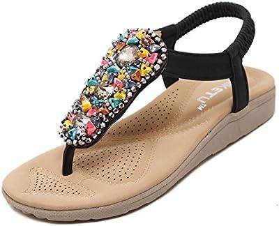 Mine tom Mujeres Muchachas Sandalias Verano Estilo Bohemio Tacón Plano Romanos Zapatos Flip Flops Playa Zapatos