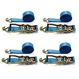 4X Correas Spanngurt con carraca trinquete correa tensora 6 m Camiones 2500/5000 kg Color Azul Claro