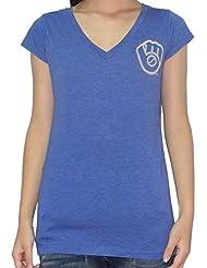 MLB Milwaukee Brewers femmes T-Shirt with Rhinestones (Vintage Look)