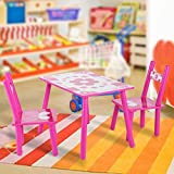 Set Tisch und Stühle Fantastische aus Holz mit Blumen für Kinder lernen malen in Haus und Schule