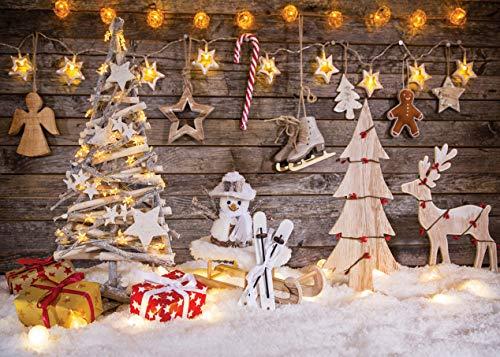 LYWYGG 7x5ft Telón de Fondo de la fotografía de Navidad para niños Fondo y Foto de árboles de Navidad Fondo de Fotos con Madera y Snown CP-100