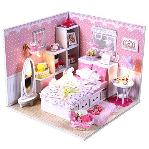 Yiuswoy Kreative Miniatur Haus ,DIY Doll House Kit Schlafzimmer,Holz Puppenhaus Mit Abdeckung Und LED,Prinzessin Schlafzimmer Modell Fuer Kleinkinder - Rosa