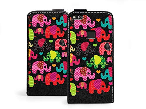 etuo Huawei P10 Lite - Handytaschen, Leder Klapphülle - Bunte Elefanten