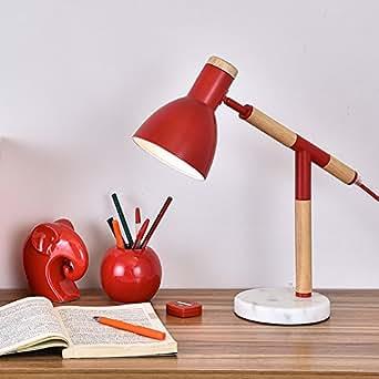 sdkky Studio Leuchte Büro-Schreibtisch-Lampe, Holz Massivholz Schreibtischlampe im europäischen Stil modern klein Schreibtischlampe A Desktop - Red desk lamp