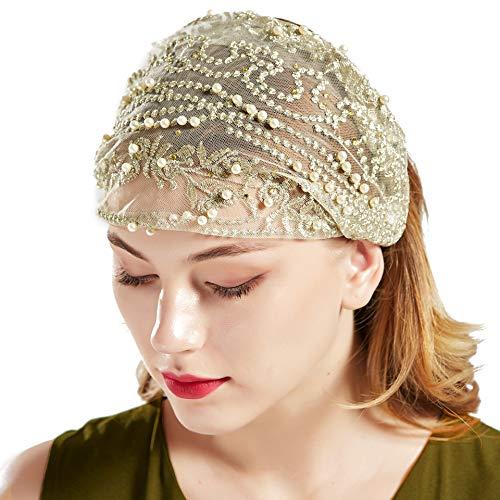 Kostüm Mann Mafia - Coucoland Gaze Kopftuch Damen Elastisch Turban Hut 1920s Haarband Damen Exotisch Fasching Kostüm Accessoires (Beige)