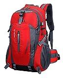 TanXianZhe Homme Femme 40 Litres Sac à dos d'alpinisme équitation en plein air de camping randonnée étanche,8 couleurs,50 x 32 x 15cm(Rouge)