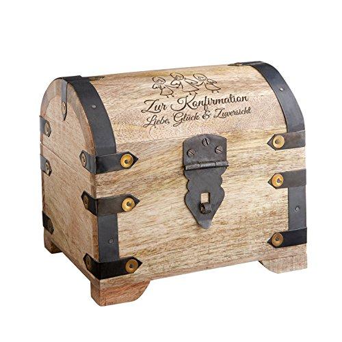 Casa Vivente Geldschatztruhe mit Gravur zur Konfirmation – Motiv Engel – Standard – Vintage Bauernkasse – Helles Holz – Messing-Beschläge – Verpackung für Geldgeschenke – Geschenke für Konfirmanden