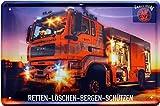 Feuerwehr - Retten - Bergen - Löschen - Schützen 20x30 Deko Blechschild 299