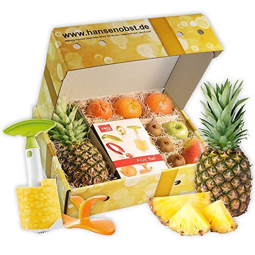 Obstbox Fruit-Set mit frischem Obst und praktischem Obsthelfern von Tomorrow's Kitchen in klassischer Geschenkbox