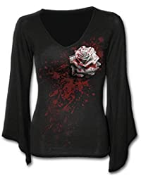 Spiral - Women - WHITE ROSE - V Neck Goth Sleeve Top Black