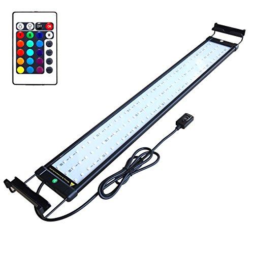 Asvert Lámpara de Acuario Luz LED,Pantalla LED Acuario,2 Modos Control Remoto de Iluminación para Acuarios de Peces y Estanques Soporte Ajustable con Eschufe EU (18)