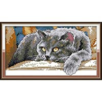 CaptainCrafts New Stamped Cross Stitch Kits Preprinted Pattern Counted Embroidery Starter Kits for Beginner Kids and Adults - Black Cat