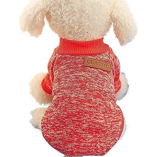 regalos tus mascotas mas kawaii Ropa para Perros Sudadera Suéter para Perros Pequeños Cachorro Perritos Mascotas Caliente Suave Invierno Otoño (XL, Rojo)
