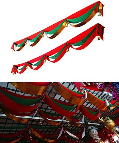 Preisvergleich Produktbild hangnuo Weihnachtsdekoration gewellt Banner 3Schichten hängen Flaggen mit Kugeln Glocken Decke, Ornament, red+green+red, 196inches/5m(length)