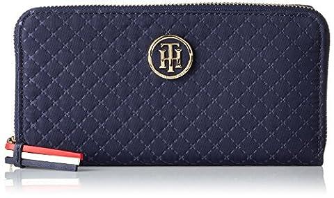 Tommy Hilfiger Damen Poppy Lrg Za Wallet Quilted Argyle Geldbörse, Blau (Quilted Tommy Navy), 2x10x19