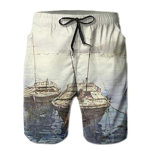 Adult Hybrid Boardshorts Classic Style Fishing Boats Beach Short Pants X-Large -