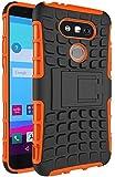 LG G5 Hülle Nnopbeclik Hybrid 2in1 TPU+PC Schutzhülle Cover Case Silikon Rüstung Armor Dual Layer Muster Handytasche Backcover 360-Grad-Drehung ständer stoßfest Handy Hülle Tasche Schutz Etui Schale Bumper Pour LG G5 5.3 Zoll [Schwarz+Orange] -