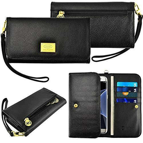 Case + Schwarz Stylus Echtes Leder Geldbörse/Tasche Passend für Apple ZTE Samsung Universal Damen Luxus Smart Handy Clutch Wristlet Strap Flip Wallet-Schwarz. Passend für folgende Modelle: (Zmax Metro Pcs Handys)