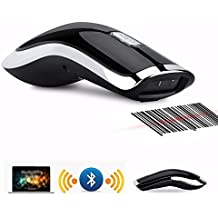 ASHATA 2.4GHz Barcode Scanner Wireless QR Code Scanner Handscanner,Kabellos 2D Barcode Scanner Handheld Leseger/ät,Automatisch schnelles und pr/äzises Scannen mit USB-Empf/änger Schwarz