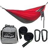 gipfelsport Hängematte - Outdoor Reisehängematte mit Aufhängeset, 2xGurte, grau/rot