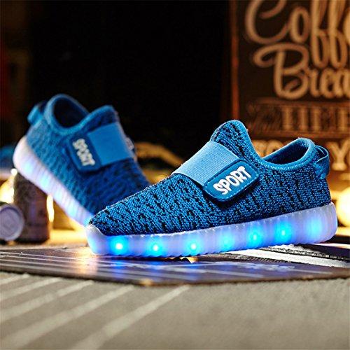 E Azul Confortável Meninos Meninas Respirável Brilhante Tênis Sneakers Levou Sapatos Das Sapato Para Brilhantes Escuro Estilo Usb Dorkasde Cobrando vxTfqwzvC
