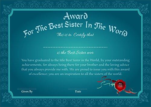 PRINTELLIGENT Rakshabandhan Gift for Sister. Gift Certificate. Award for The Best Sister in The World.