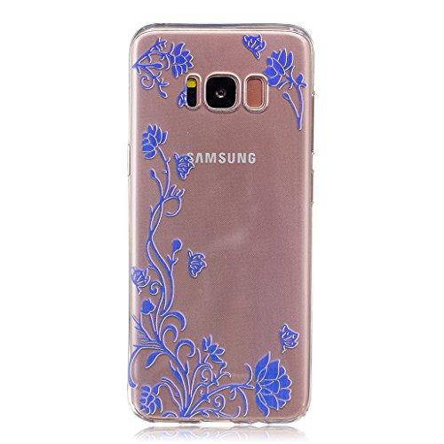 Hülle für Samsung Galaxy J3 2016 SM-J320F XiDe Ultra Dünne Leichtgewicht Etui Flexible TPU Silikon Schale Weiche Transparente Schutzhülle Glatte Schlanke Tasche Stoßfeste Kratzfeste Staubdichte Handyt Blaue Blume Rattan