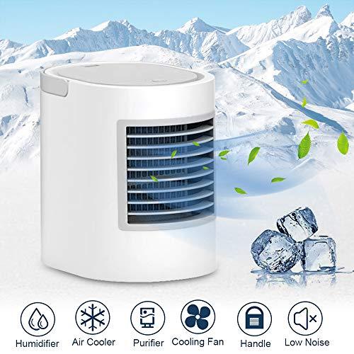 Womdee Persönlicher Luftkühler, 4 in 1 tragbare Mini-Klimaanlage, Luftbefeuchter und Luftreiniger mit 7 Nachtlicht, 3 Geschwindigkeiten für schnelles kühles Home-Office-Schreibtisch-Schlafzimmer