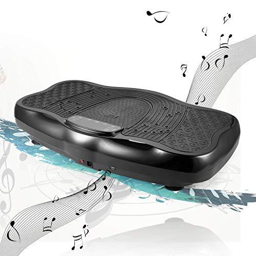 ANCHEER Vibrationsplatte 3D Ganzkörper Trainingsgerät rutschfest, Unisex-Adult Vibrationsgerät mit LCD Display & USB Schnittstelle Lautsprecher | 180 Level | Inkl. Fernbedienung, Trainingsbänder