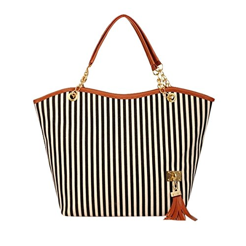 Longra Donna Moda Stripe nappa della catena della borsa a tracolla della tela di canapa Nero