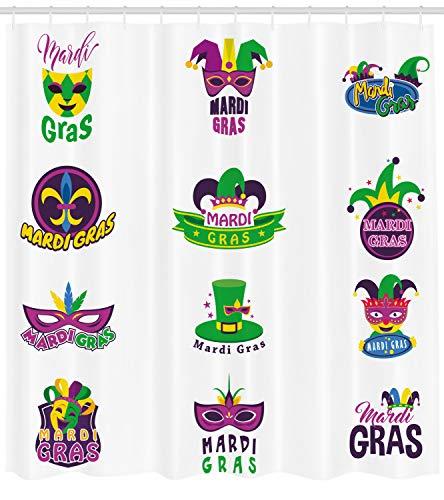 (ABAKUHAUS Karneval Duschvorhang, Masken Alte Lilie, mit 12 Ringe Set Wasserdicht Stielvoll Modern Farbfest und Schimmel Resistent, 175x180 cm, Mehrfarbig)