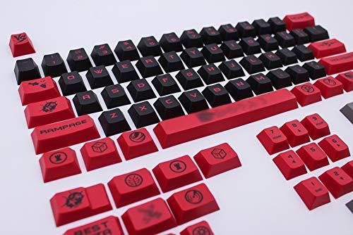 Standard-höhe Cherry (Onecap DIY Keycap rot & schwarz personalisiert Keycap Cherry PBT Dye-Subtion 170 Keycaps Cherry Factory Höhe für mechanische Gaming-Tastatur Rot/Schwarz 61 Keys)