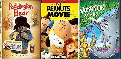 Charming Stuffed Bear Kids Adventure Peanuts Family DVD + Horton Hears A Who & Paddington Movie & Animated Episodes Bonus Collectors Edition Triple Feature fun pack bundle set